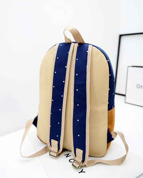 Polka Dot Candy Color Canvas Backpack School Bag - Meet Yours Fashion - 9