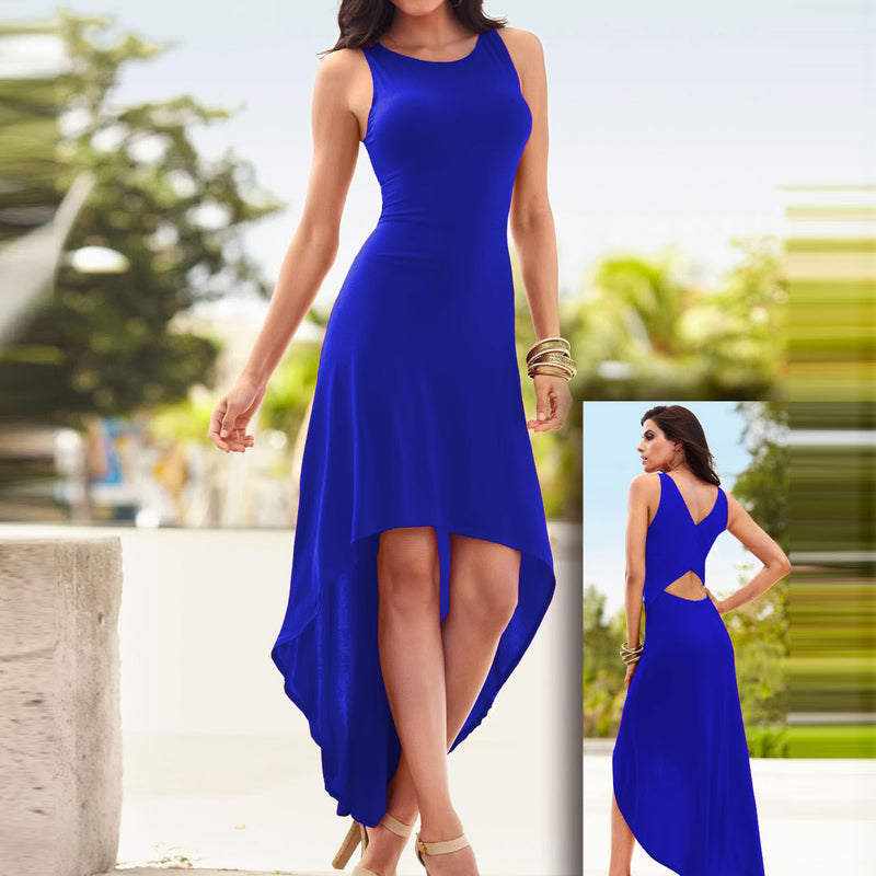 Pure Color Sexy Irregular O-neck Sleeveless Long Dress