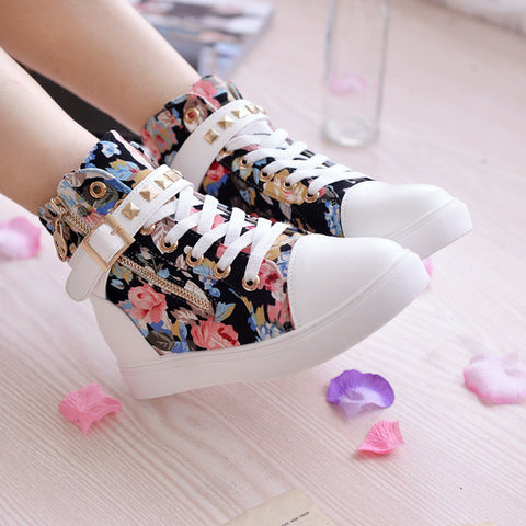 Cute Floral Print Skull Lace Up High Cut Women Sneakers - MeetYoursFashion - 4