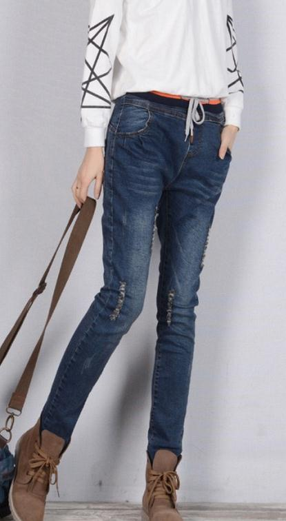 Plus Size Elastic Slim High Waist Straight Jeans - Meet Yours Fashion - 2