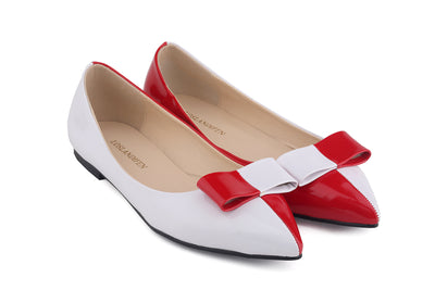 Color Matching Pointed Bowknot Flats