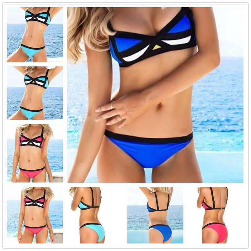 Spaghetti Strap Patchwork Triangle Low Waist Bikini Set Swimwear - Meet Yours Fashion - 1