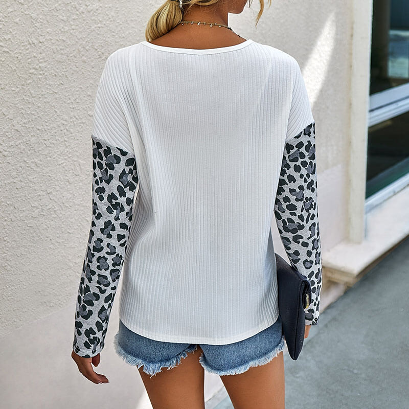 Leopard Patchwork Ribbed Top
