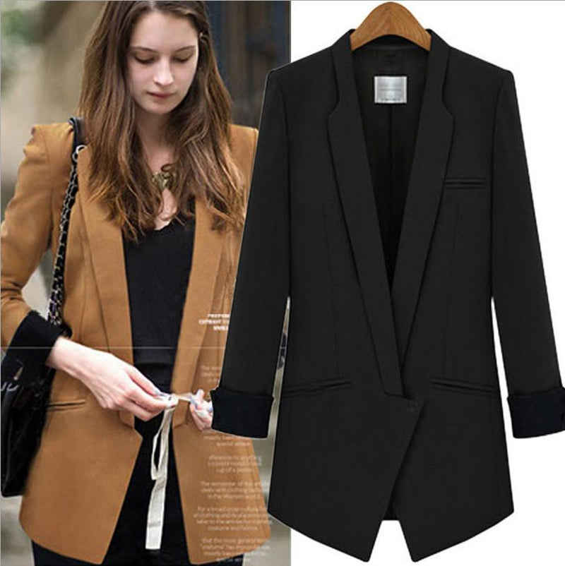 Deep V-neck Long Sleeves Brief Slim Blazer Coat - Meet Yours Fashion - 4