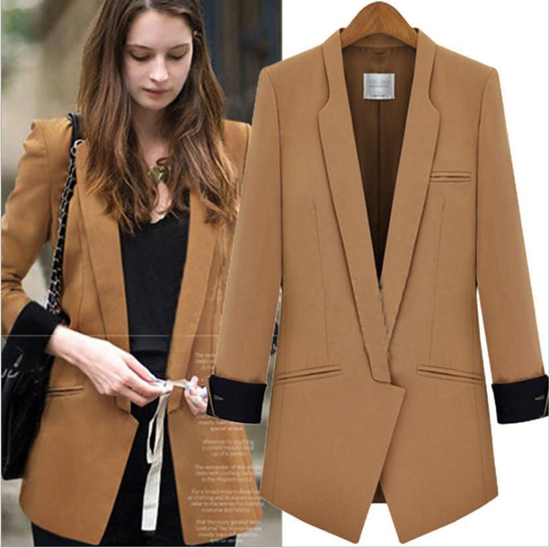 Deep V-neck Long Sleeves Brief Slim Blazer Coat - Meet Yours Fashion - 2