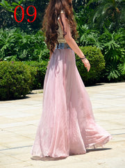 Bohemian Flared Pleated Pure Color Slim Floor Maxi Skirt - Meet Yours Fashion - 5