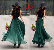 Bohemian Flared Pleated Pure Color Slim Floor Maxi Skirt - Meet Yours Fashion - 12