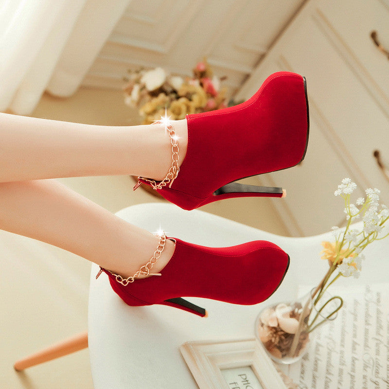 Charmed Suede High Heel Booties Shoes - MeetYoursFashion - 8