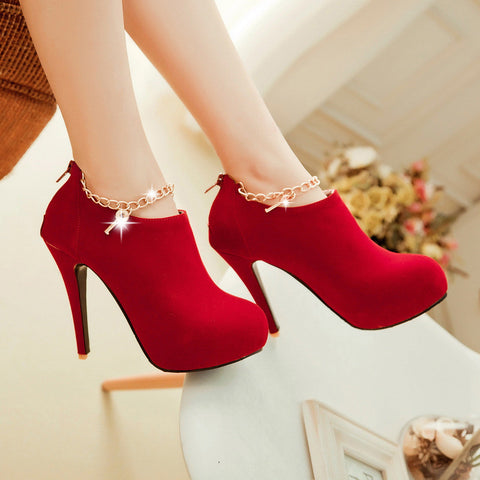 Charmed Suede High Heel Booties Shoes - MeetYoursFashion - 7