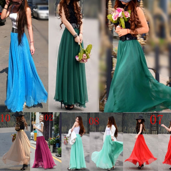 5b13a47847 ... Bohemian Flared Pleated Pure Color Slim Floor Maxi Skirt - Meet Yours  Fashion - 2