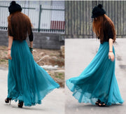 Bohemian Flared Pleated Pure Color Slim Floor Maxi Skirt - Meet Yours Fashion - 8