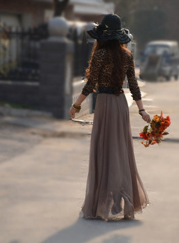 Bohemian Flared Pleated Pure Color Slim Floor Maxi Skirt - Meet Yours Fashion - 11
