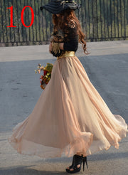 Bohemian Flared Pleated Pure Color Slim Floor Maxi Skirt - Meet Yours Fashion - 13