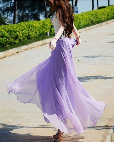 Bohemian Flared Pleated Pure Color Slim Floor Maxi Skirt - Meet Yours Fashion - 1