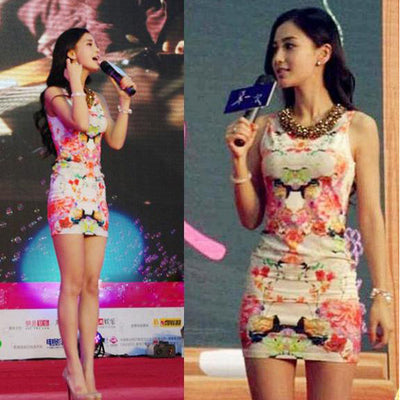 Sweet Women Floral Printing Sleeveless Hip Short Tank Dress