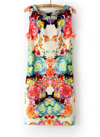 Sweet Women Floral Printing Sleeveless Hip Short Tank Dress - MeetYoursFashion - 4