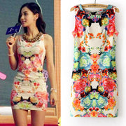 Sweet Women Floral Printing Sleeveless Hip Short Tank Dress - MeetYoursFashion - 2