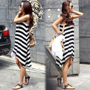 Stripe Loose Irregular Beach Women¨¹s Dress - MeetYoursFashion - 3