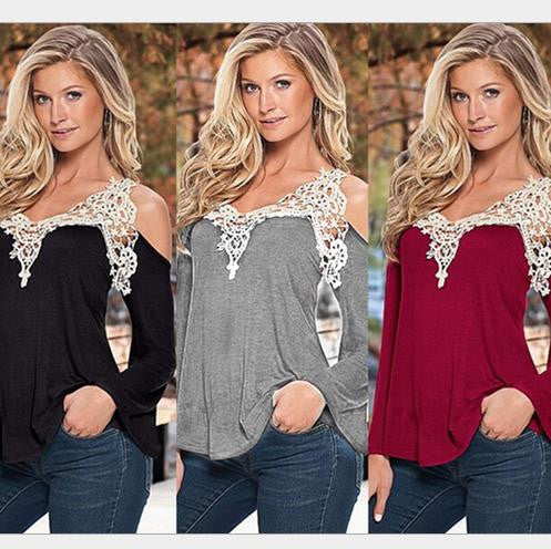 Sexy V-neck Long Sleeves Lace Patchwork Off-shoulder Blouse