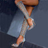 Peep Toe Cutout High Heel Knee High Sandals