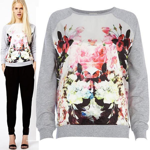 Flower Print Scooo Long Sleeve Splicing Sweatshirt - Meet Yours Fashion - 2