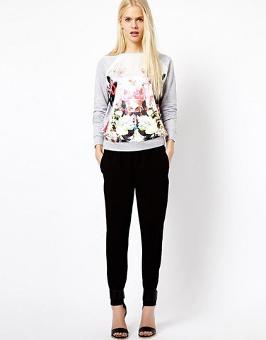 Flower Print Scooo Long Sleeve Splicing Sweatshirt - Meet Yours Fashion - 1