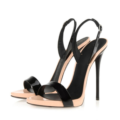 Summer Color Block PU Buckle High Heel Sandals