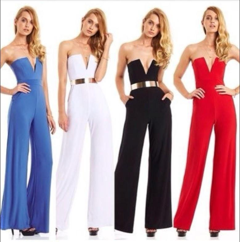 Strapless V-neck Slim Pure Color Flared Long Jumpsuit - Meet Yours Fashion - 2