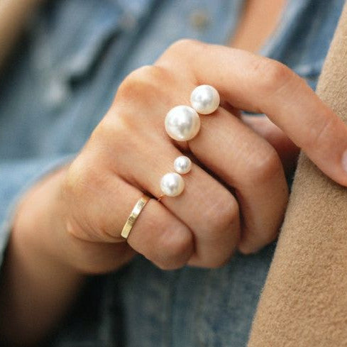 Adjustable Big Small Pearl Ring