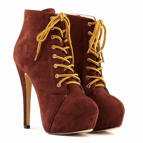 Super High Heels Nightclub Lace Up Boots