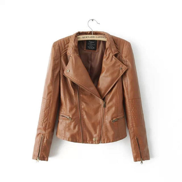 Double Zipper Stand Collar PU Crop Slim Jacket - Meet Yours Fashion - 3