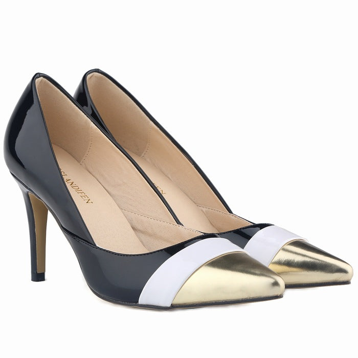 Fashion Pointed Color Matching Patent Leather Heels Shoes