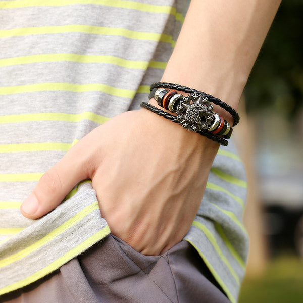 Eagle Head Star Multilayer Woven Bracelet