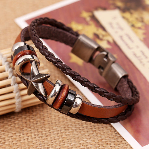 Retro Star Beaded Leather Woven Bracelet