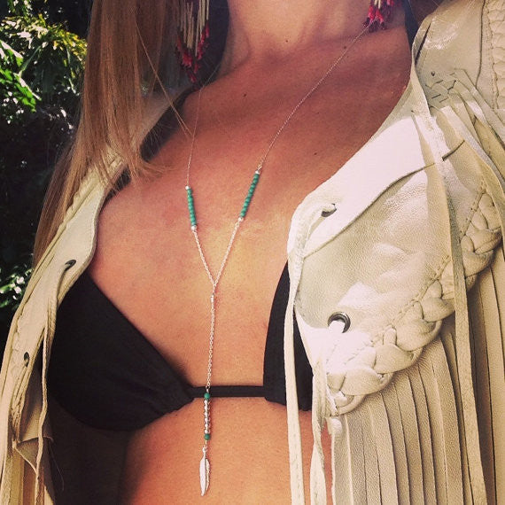 Bohemia Handmade Beads Feathers Tassel Necklace