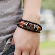 X Mark Beaded Leather Bracelet