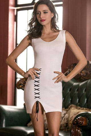 Sexy Slim Hollow Out Spaghetti Strap Short Dress