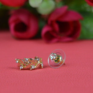 Leaves Diamond Grain Flowers Earring Single Set