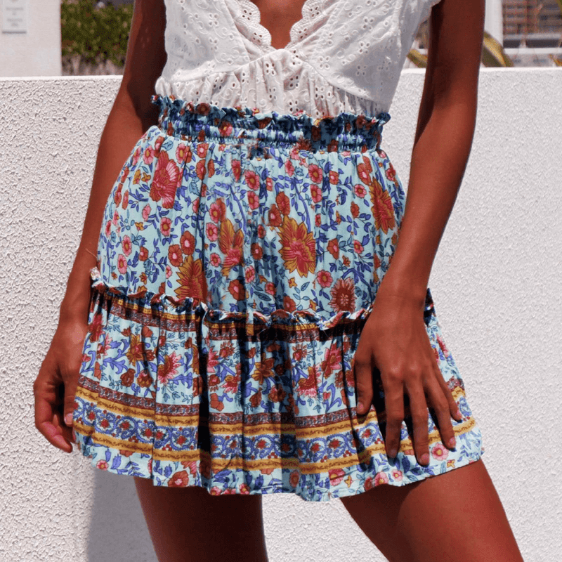 Bohemia Loose Floral Ruched Strap Mini Skirts