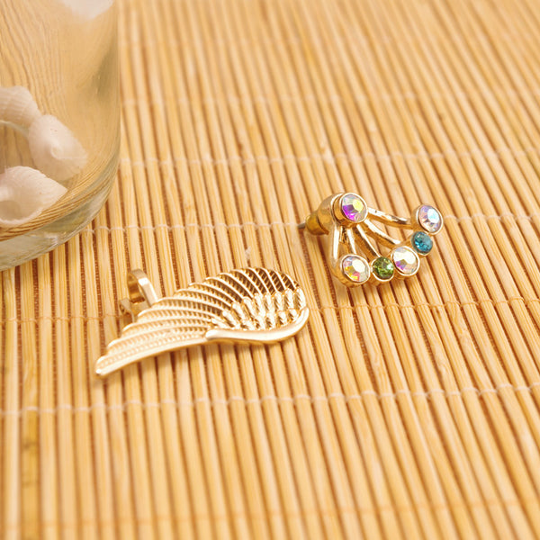 Angel's Wings Colorful Crystal Flower Earrings