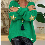 V Neck Stars Pattern Knit Sweater