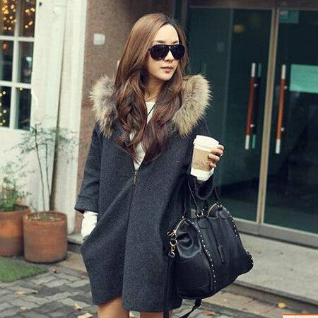 Hooded Faux Fur Collar 9/10 Sleeve Zipper Dropped Shoulder Coat - Meet Yours Fashion - 2