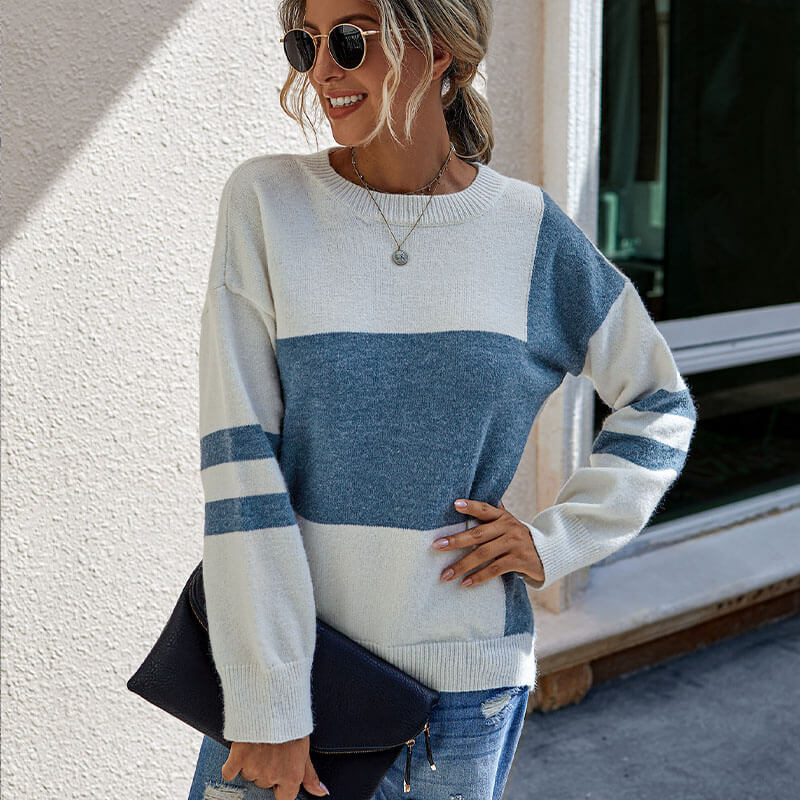 Colorblock Striped Sleeve Pullover Sweater