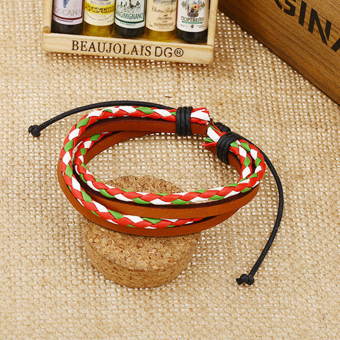 Color Vintage Woven Leather Bracelet Set