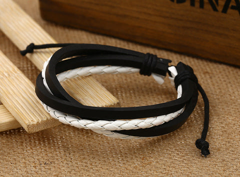 Color Vintage Woven Leather Bracelet