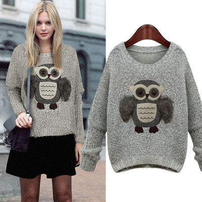 Knit Scoop Loose Pattern Owl Long Sleeves Sweater - Meet Yours Fashion - 2