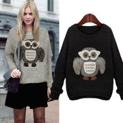 Knit Scoop Loose Pattern Owl Long Sleeves Sweater - Meet Yours Fashion - 3