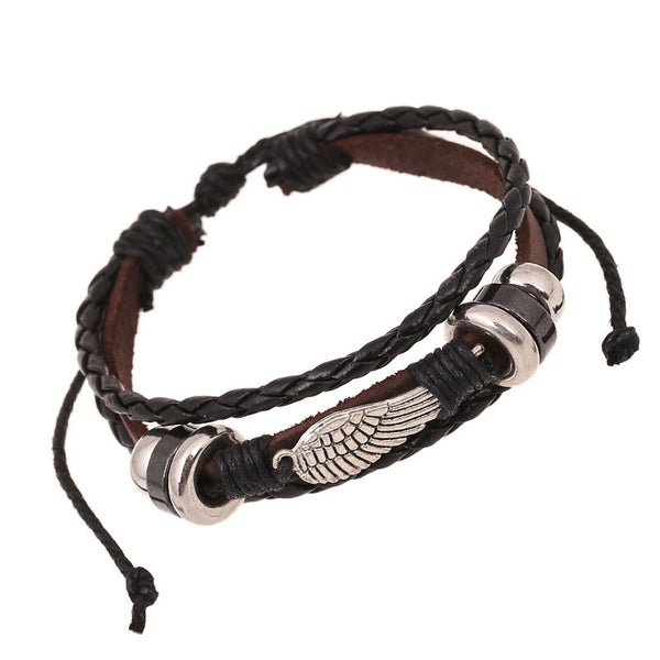 Fashion Wing Beaded Leather Bracelet