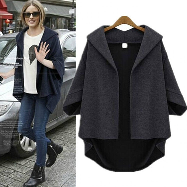 Solid 3/4 Sleeves Cardigan Batwing Plus Size Coat - Meet Yours Fashion - 2