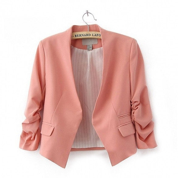 Stylish Women OL Candy Color Thin Suite Outerwear 3/4 sleeve Coat Mini Blazer